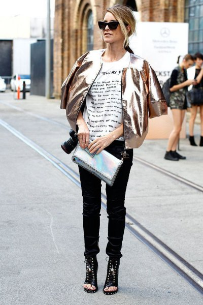 15 Stunning Metallic Jacket Outfit Ideas for Women - FMag.c