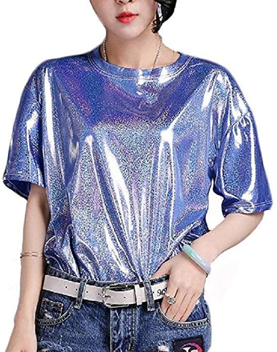 AIBEARTY Women Girls Shiny Metallic Round Neck Tops Short Sleeve T .