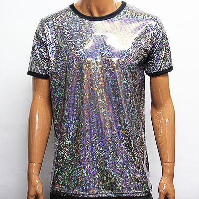 Mens Rainbow Shiny Glitter Short Sleeve T-Shirts size M / Mans .