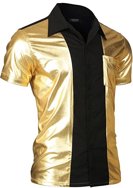 Amazon.com: COOFANDY Mens Disco Shirt Short Sleeve Button Down .