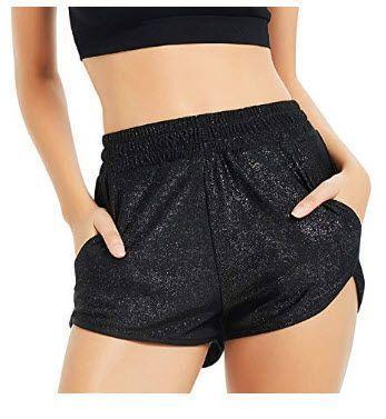Perfashion Women-s Metallic Shiny Shorts Sparkly Hot Yoga Outfit .