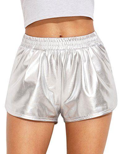 Jollymoda Women's Yoga Hot Pants Shiny Metallic Shorts,#Yoga, #Hot .