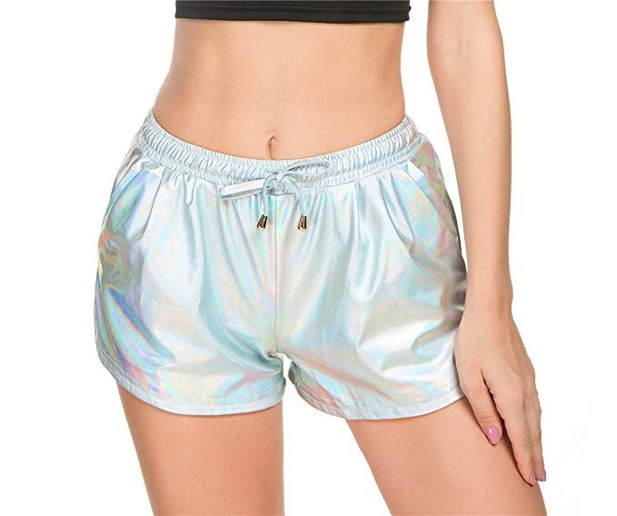 Taydey Women's Yoga Hot Shorts Shiny Metallic Pants with Elastic .