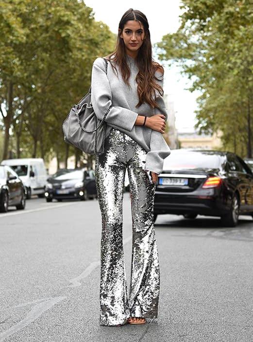metallic-sequin-trouser-grey-sweatshirt-street-style-outfit .