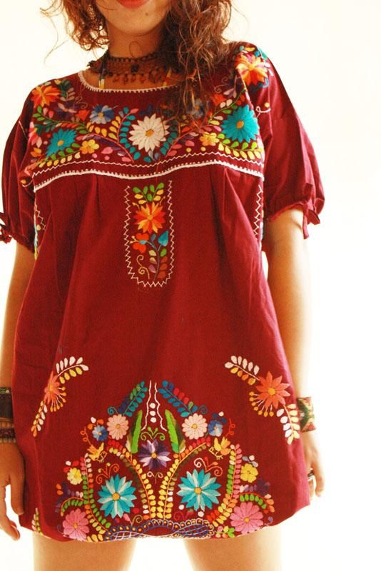 Elena Mexican vintage embroidered hippie chic tunic dress, hand .