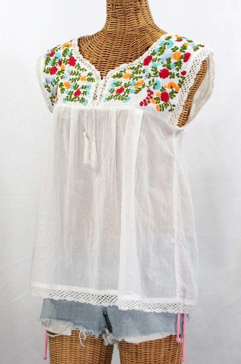 "La Marbrisa"" Embroidered Mexican Sleeveless Peasant Blouse Top ."