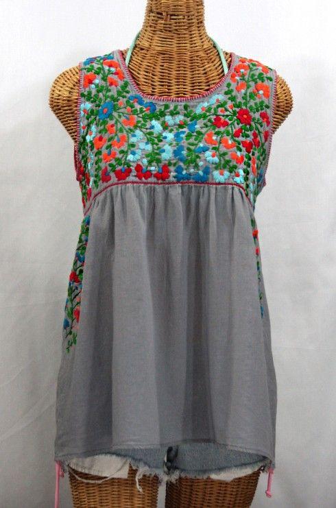 "La Sirena"" Sleeveless Mexican Peasant Blouse -Grey + Fiesta ."
