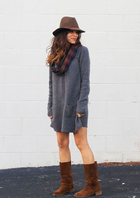 24 Fall Outfit Ideas With Mid Calf Boots - Styleohol