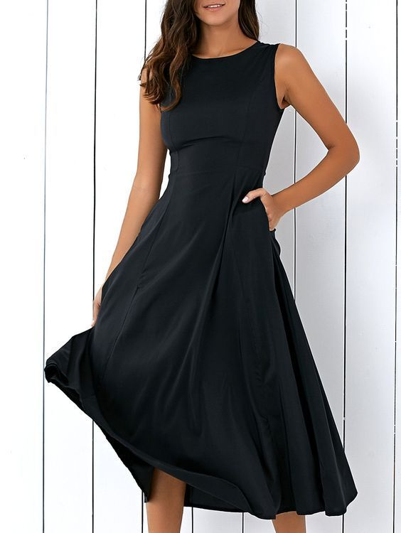 Sleeveless Long Black Round Fitting Midi Dress for Women,Girls .