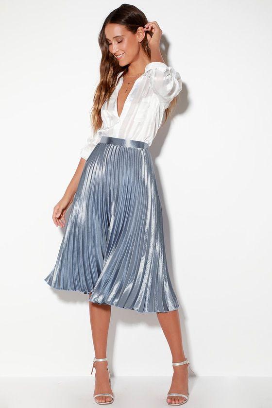 Pretty Pleats Light Blue Metallic Pleated Midi Skirt | Metallic .