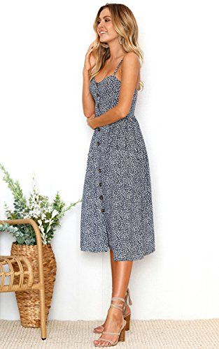 Angashion Women's Dresses-Summer Floral Bohemian Spaghetti Strap .