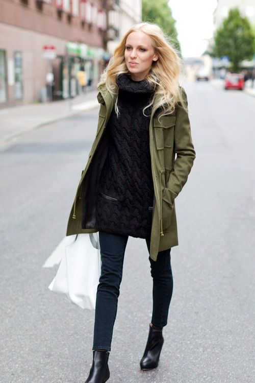 army green jacket with sweater dress-fall outfit ideas | Fashion .