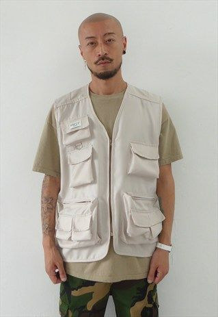 NEW 90S STYLE MULTI-POCKET UTILITY VEST IN CREAM | Vest outfits .