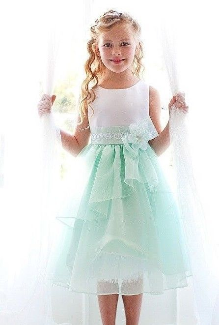 Satin White Mint Green Organza Flower Girls Dress Pageant Formal .