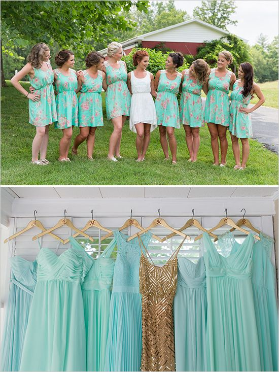 Gold and Mint Vintage Wedding | Gold bridesmaid dresses .