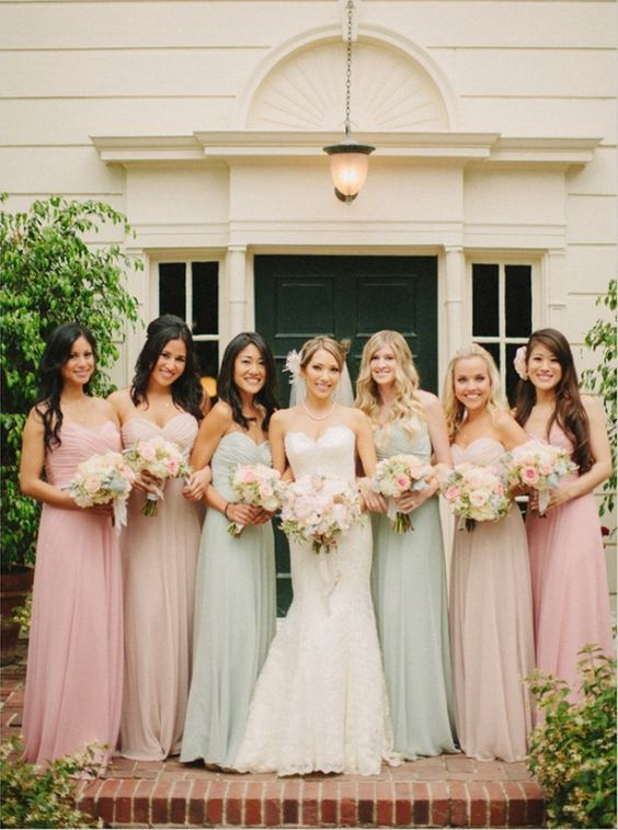 vintage pastel pink rose and mint bridesmaid dresses ideas .