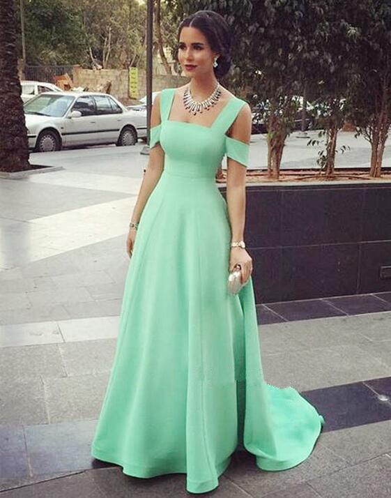 Modest Prom Gowns Elegant Mint Green Prom Dress Satin Evening .