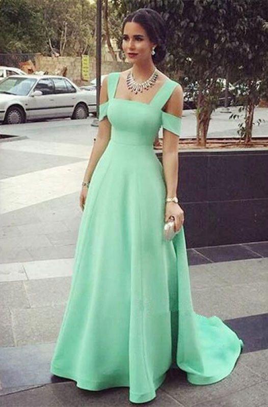 Mint Green Off Shoulder Long Prom Dresses Evening Dresses - not .