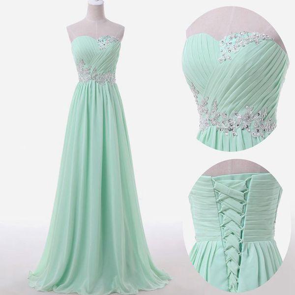 Mint Green Prom Dresses,sweetheart A-line Chiffon Long Prom .