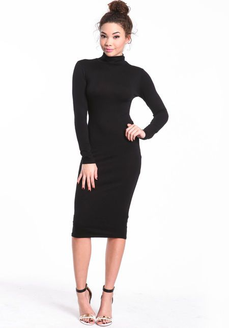 Turtleneck Midi Dress, BLACK, large (With images) | Turtle neck .