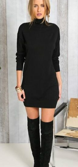 15 Attractive Black Sweater Dress Outfit Ideas for Women - FMag.c