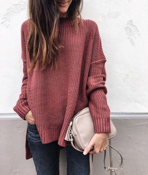 mock neck sweater, pink sweater, chunky knit sweater, fall fashion .