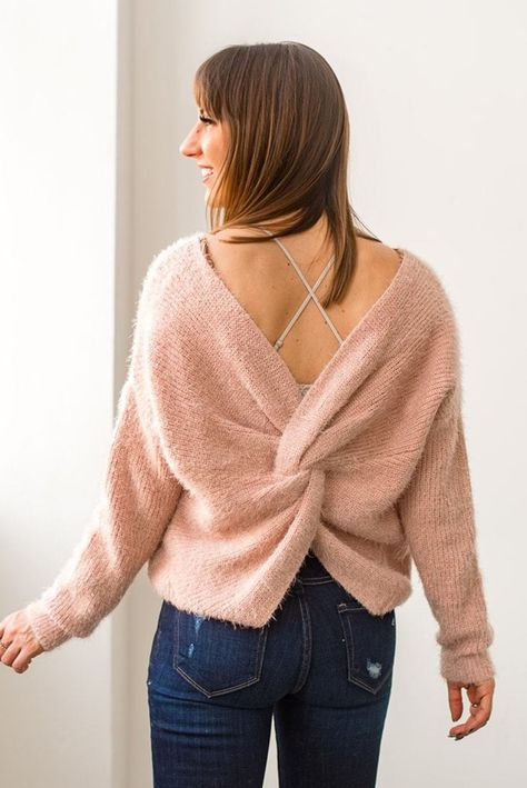 Twist and Pout Fuzzy Sweater || shoprollick.com || twist back pink .