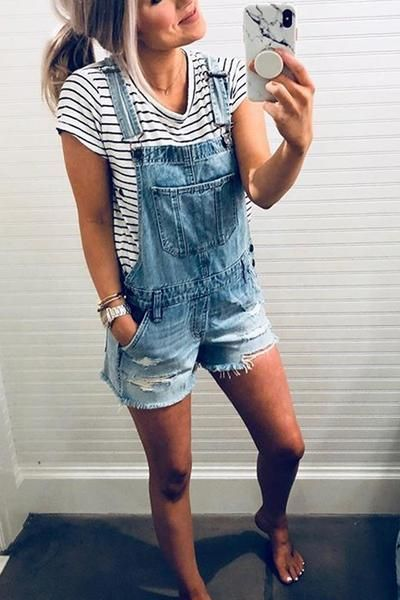 Ripped Shorts Denim Romper in 2020 | Summer outfits for moms .
