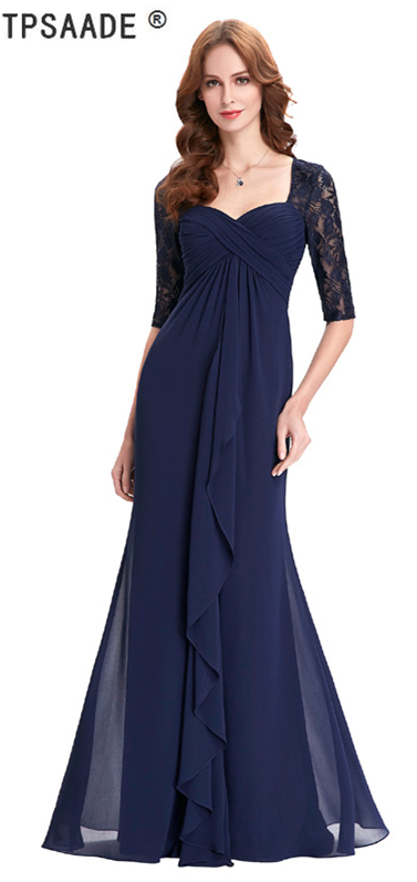 Navy Blue 2018 Mother of the Bride Dresses Lace Dress Elegant Half .