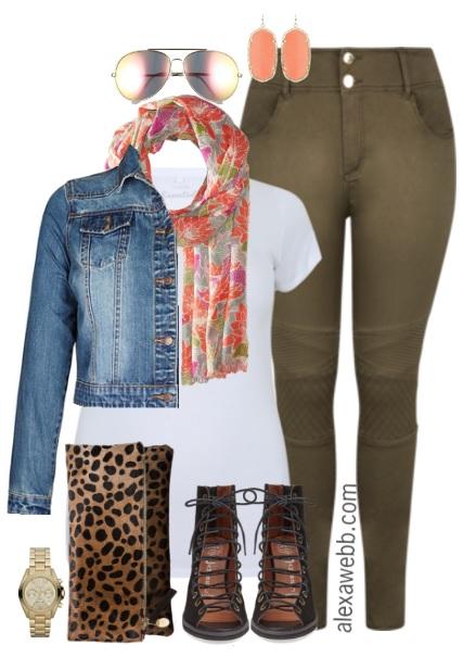 Plus Size Khaki Moto Jeans Outfit - Alexa We