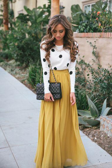 Polka Dot Sweater + Long Mustard Skirt | Fashion, Style, Yellow .