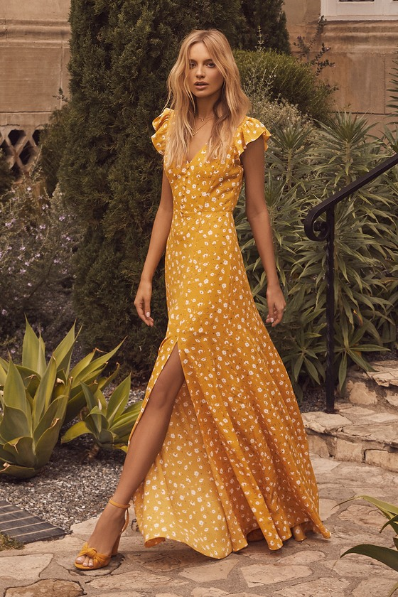 Fresh Picked Mustard Yellow Floral Print Backless Maxi Dress .
