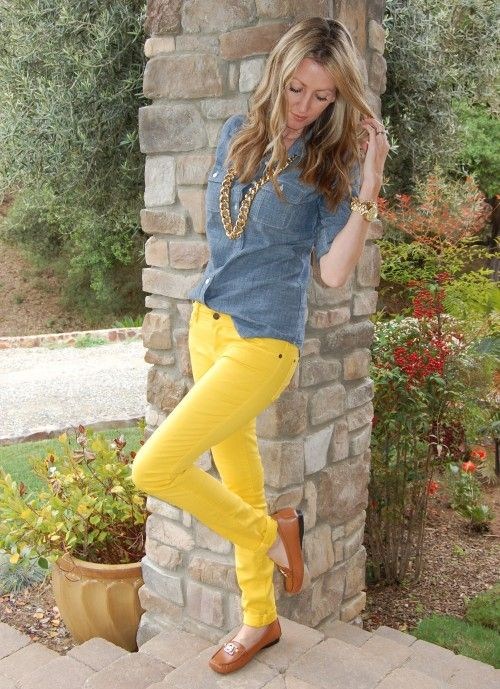mustard yellow denim | Fashion, Yellow jeans, Yellow skinny jea