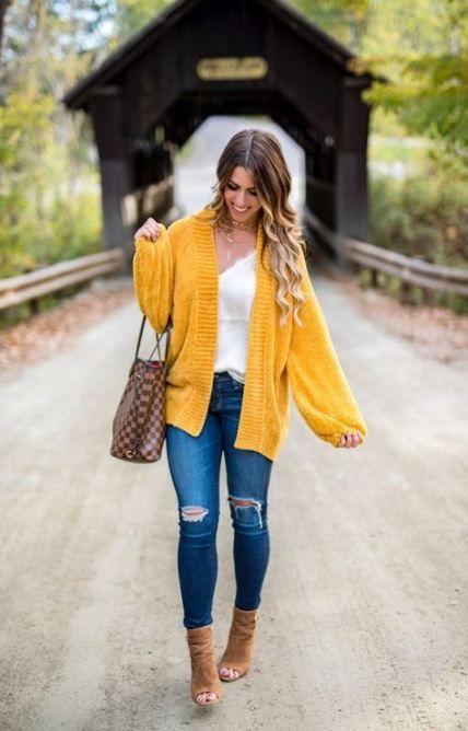 46+ Ideas How To Wear Yellow Cardigan Mustard Sweater #howtowear .