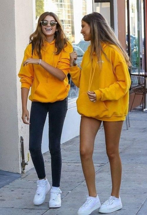 Image result for yellow sweater white sneakers | Yellow hoodie .