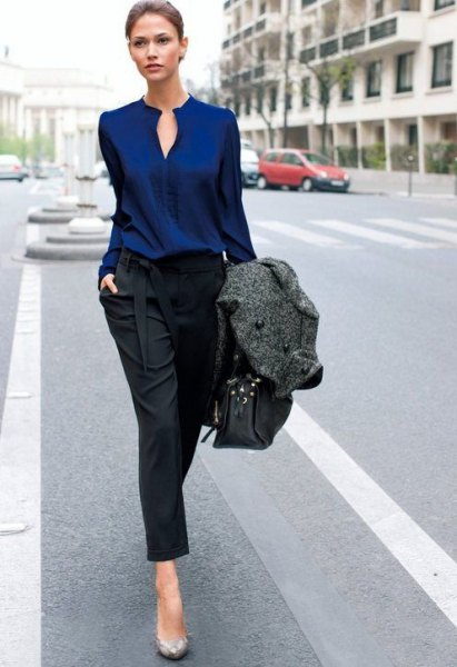 How to Wear Navy Blue Blouse: Best 15 Stylish Outfit Ideas for .