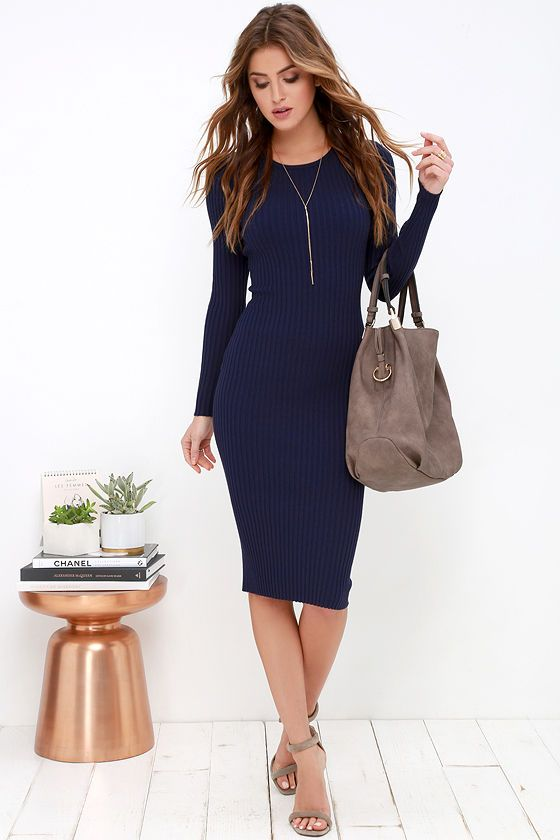 Simply Smitten Navy Blue Sweater Dressat Lulus.com! | Blue sweater .