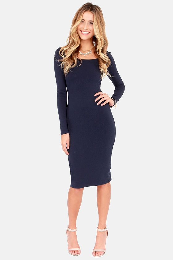 Stuck in the Midi With You Navy Blue Bodycon Dress at LuLus.com .
