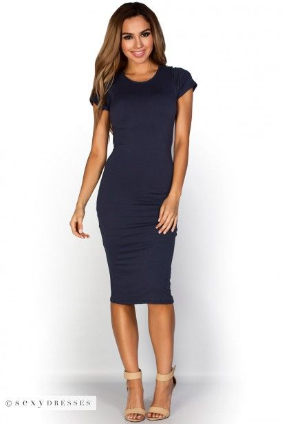 "Elise"" Navy Blue Short Sleeve Bodycon T Shirt Midi Dress 