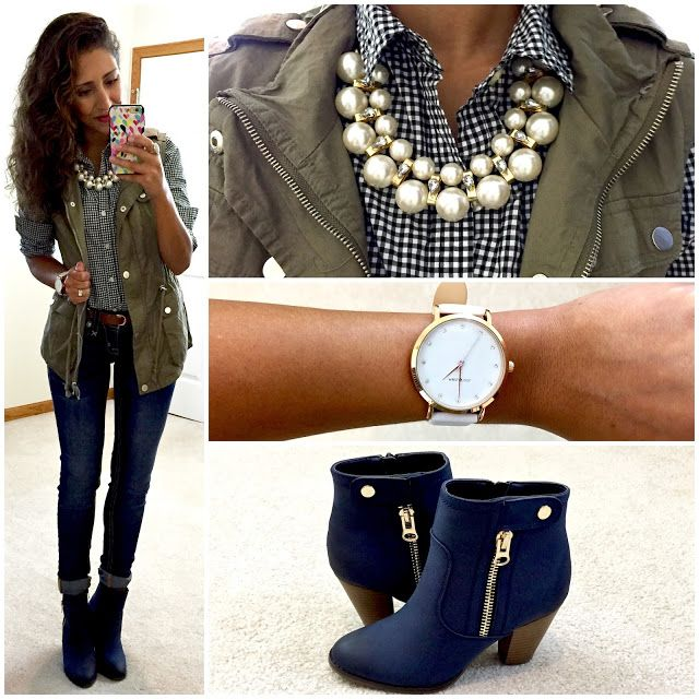 Gingham button-up, cargo vest, jeans, navy ankle boots. | Navy .