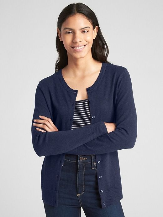 Gap Women's Slim Crewneck Cardigan Sweater Dark Night | Sweaters .