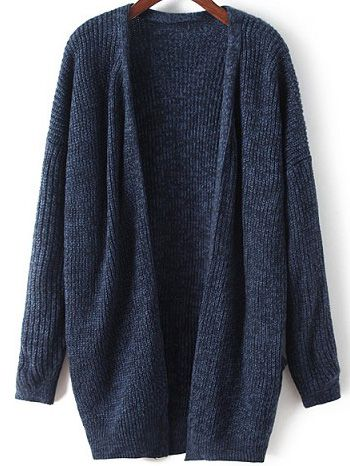Shop Navy Long Sleeve Loose Knit Cardigan online. SheIn offers .