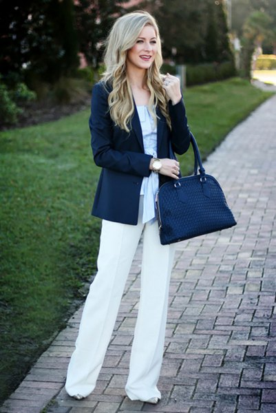 How to Style Navy Blue Handbag: 15 Super Chic Outfit Ideas - FMag.c