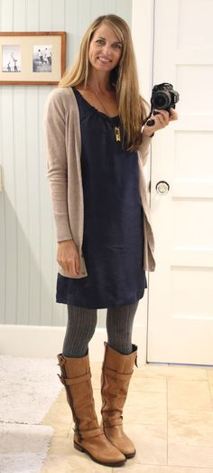 Dress with sweater tights, cardigan and boots - great casual fall .