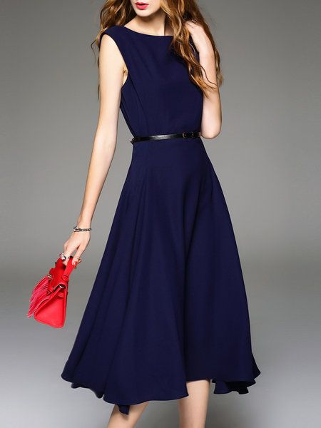 Shop Midi Dresses - Navy Blue Plain Elegant A-line Midi Dress .