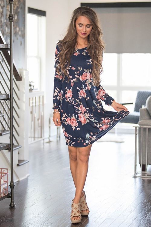 All of Our Days Floral Dress Navy - The Pink Lily | Floral dress .