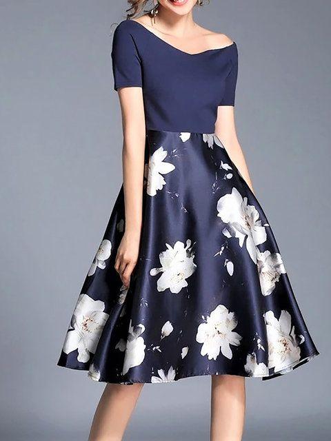 Midi Dresses,Blue,Short Sleeve,Floral,Floral-print,Paneled,Spring .