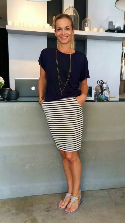 Simple for when summer is really hot, navy tee, striped skirt and .