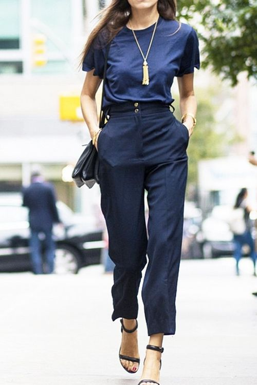 What to Wear to Work: Navy Tee, High-Waisted Cropped Pants, Ankle .