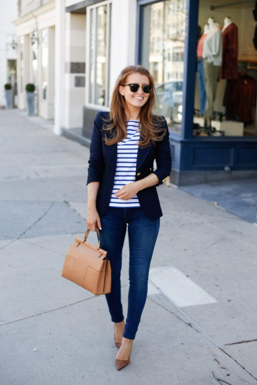 15 stylish navy blazer summer outfits to wear at work | Blazer .